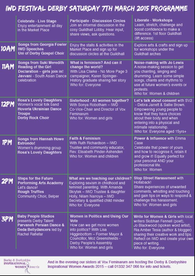 IWD 2015 programme