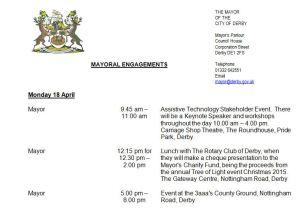 mayor timetable