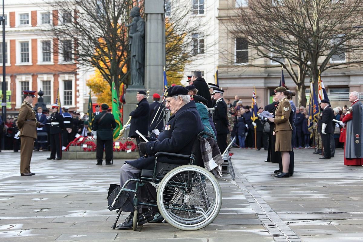 Significant numbers attend Remembrance Day Service in Market Place.